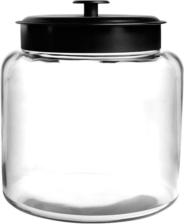 Anchor Hocking 1.5 Gallon Montana Glass Jar with Fresh Seal Lid, Black Metal, Set of 1
