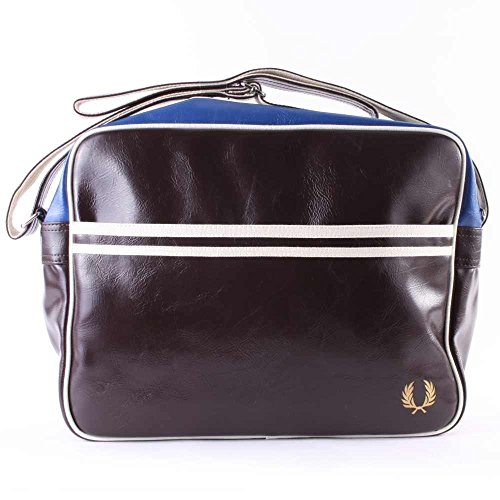 FRED PERRY BORSA A TRACOLLA CLASSIC marrone / blu CHARCOAL SHOULDER BAG PVC 37x29x11 cm UOMO DONNA UNISEX