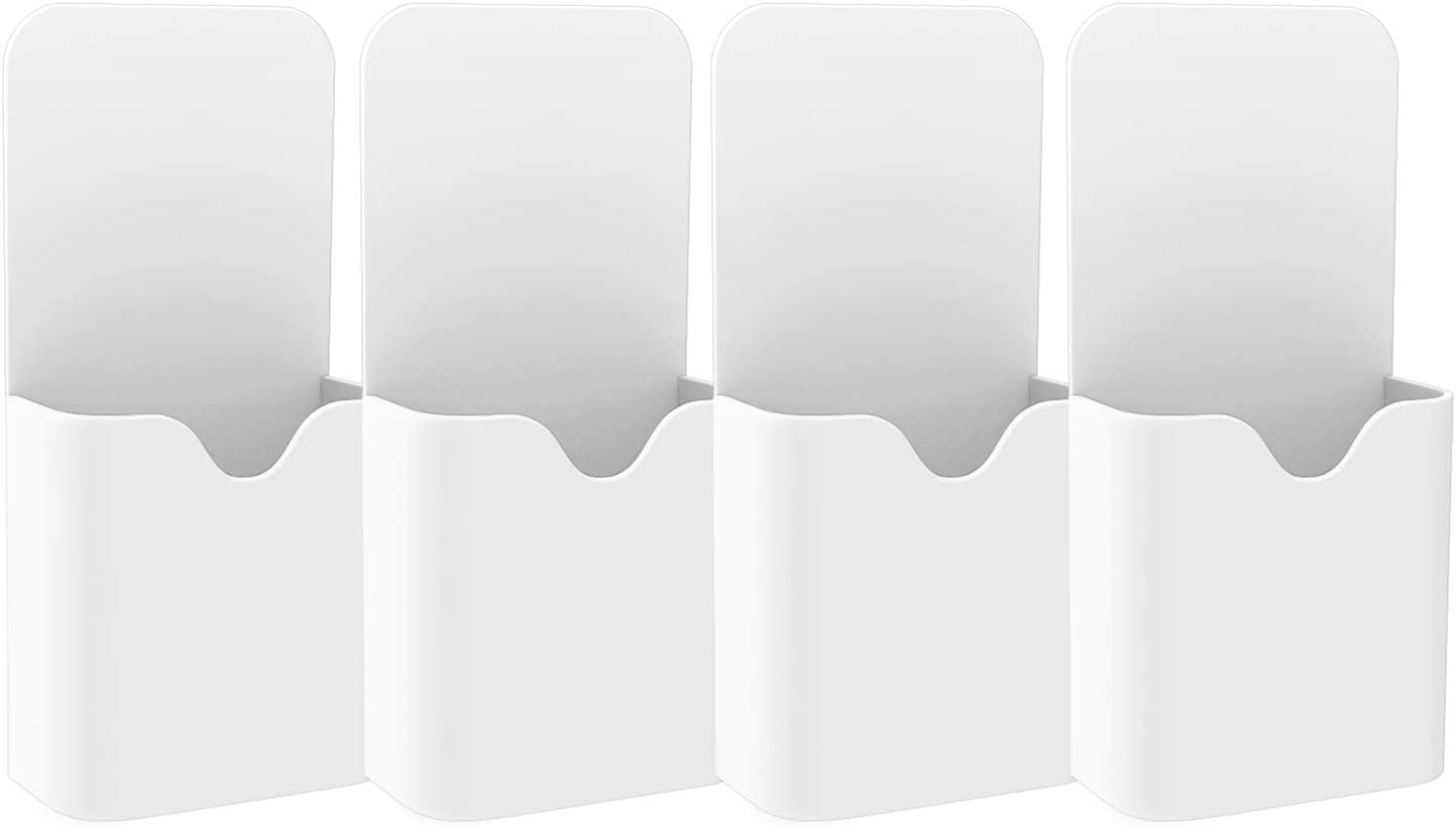 MoKo Magnetic Dry Erase Marker Holder, [4 Pack] Pen/Pencil/Magnets/Dry Erase Marker Storage Organizer for Home Refrigerator, Office Glass Whiteboard, Locker and Other Magnetic Surfaces - White