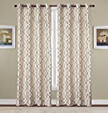 RT Designers Collection Dawson Jacquard 54 x 84 in. Grommet Curtain Panel, Taupe
