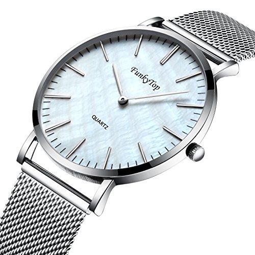 - FunkyTop Women Casual Stainless Steel Mesh Watch Quartz Analog Fashion Waterproof Ultra Slim Watch (Silver)