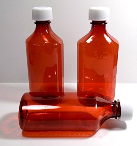 16 Ounce Graduated Oval Plastic Amber RX Medicine Bottles w/Caps-6 - Rx Bottle