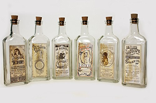 OHIO WHOLESALE, INC. Vintage Style Remedies Bottles ~ Set of 6 ()