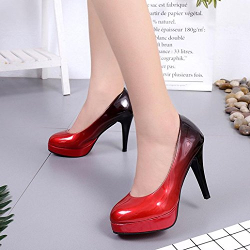 Fheaven Heeled Fashion Gradient D Shoes Pumps Round Shoes Color Women Patent Leather High Dress Low Shallow Toe Glitter vC5rvA