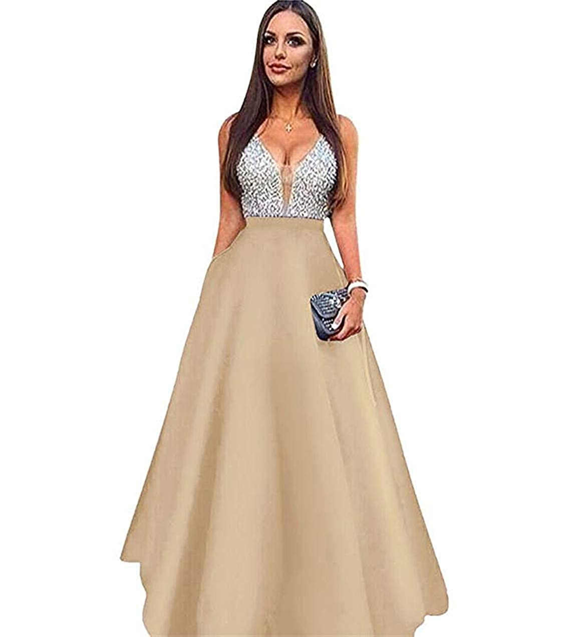 Champagne Lnxianee Women's Beaded VNeck Prom Dresses Long Formal Evening Gowns