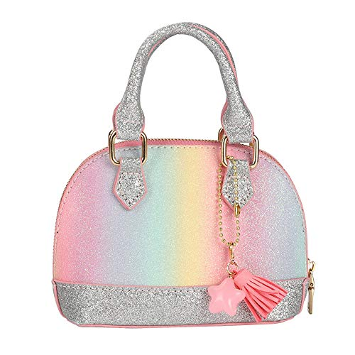 Handbag Purse Girls (CMK Trendy Kids Glitter Toddler Purse for Little Girls Mini Kids Crossbody Handbag Shoulder Bag Age 2-10 (PKBURB))