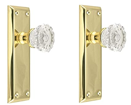 Two Fluted Crystal Glass FRENCH DOOR Dummy Knob set for ONE SIDE OF TWO DOORS Antiques Architectural & Garden