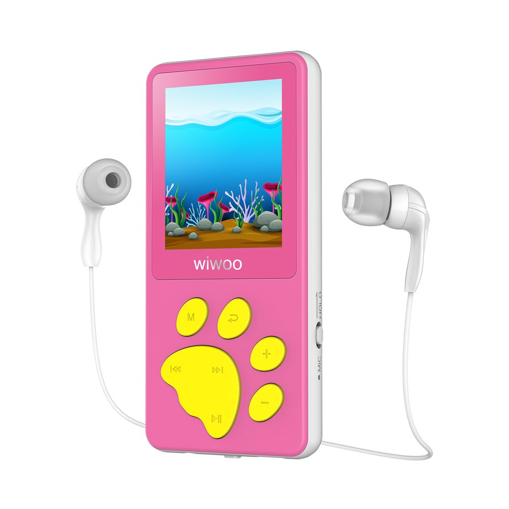 Aniee MP3 Player/MP4 Player, Kids MP3 Player with FM Radio/Video/Photo  Viewer & Voice Recorder, Music Player with Cartoon Bear Paw Button Support  Up