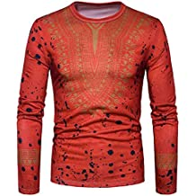 Sumen Mens Shirts, 2018 New Casual African Print O Neck Long Sleeved T-Shirt for Men