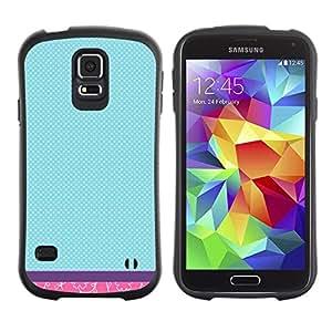 "Hypernova Slim Fit Dual Barniz Protector Caso Case Funda Para Samsung Galaxy S5 [Trullo floral rosado a cuadros púrpura""]"