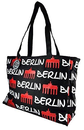 Robin Ruth Canvas Umhängetasche BERLIN in schwarz/weiß-rot (Maße: LxHxT 36x28x11cm)
