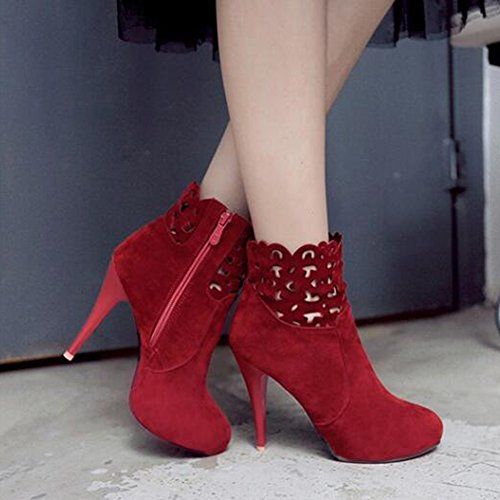 Women's Sexy Faux Suede Hollow out Round Toe Side Zipper Stiletto High Heel Ankle Booties