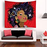 SARA NELL Tapestry African American Women Art Tapestries Wall Art Hippie Bedroom Living Room Dorm Wall Hanging Throw Tablecloth Bedspread 50''×60'' (5060inch, African Ameircan Women Sexy red Lips)