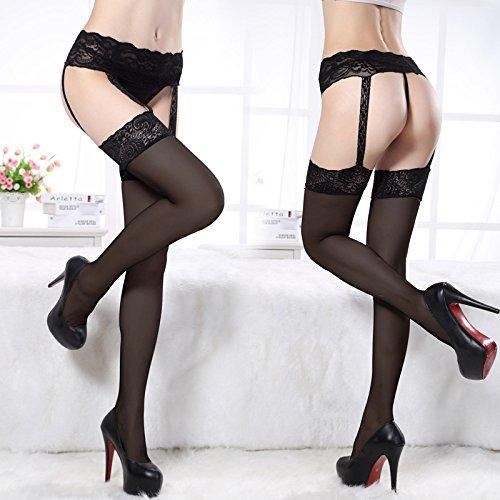 Gemini Womens Lingerie Net Lace Top Garter Belt Thigh Stocking Pantyhose