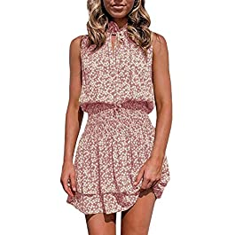 GAMISOTE Womens Floral Sleeveless Sundress Boho V Neck Tie Smocked Ruffle Layer Short Dress Pink