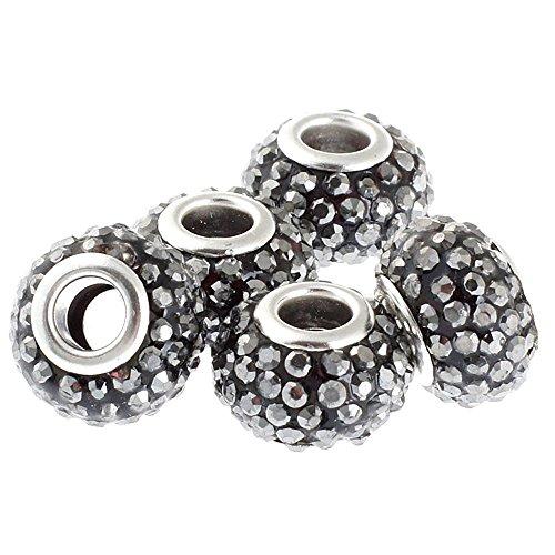 RUBYCA Big Hole Large Crystal Charm Slide Beads fit European Charm Bracelet (5pcs, Hematite, 15mm)