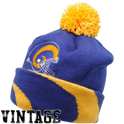 Louis Rams Throwback Blue Jersey - NFL Mitchell & Ness St. Louis Rams Royal Blue-Gold Throwback Jersey Striped Cuffed Knit Beanie