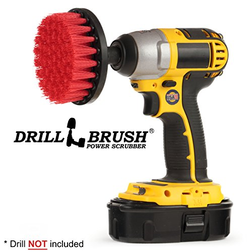 Drillbrush Heavy Duty Stiff Nylon Scrub Brush for Brick Concrete and Stone Cleaning with Quick Change Shaft (Fireplace Cleaner Brick)