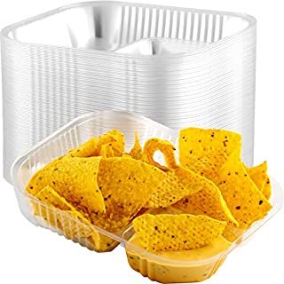 Anti-Spill Plastic Nacho Trays 25 Pack. Disposable 2 Compartment Boats Great for Dips, Snacks and Fair Foods. Large 6x8 Inch Portable Chip Holders for School Carnivals, Parties and Concession Stands