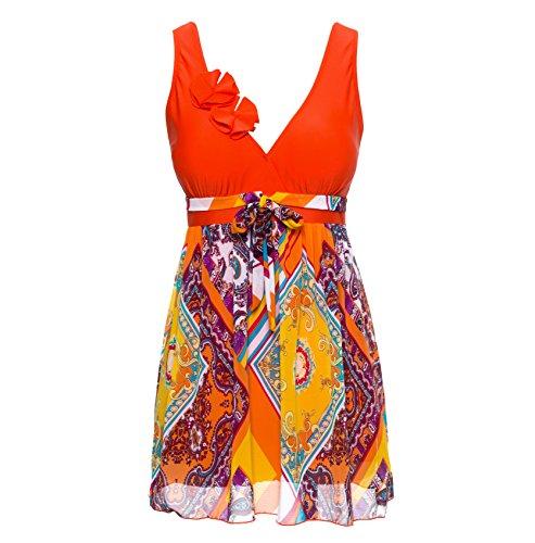 Wantdo Women's Slimming Modest Flared Fit Vintage Swimsuit, Orange1, US 8