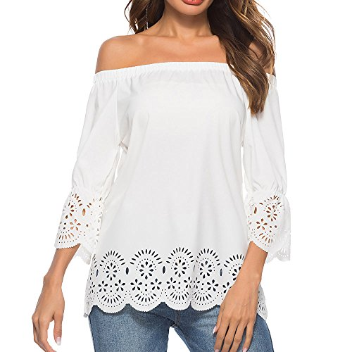 Kauneus  Women's Casual Off The Shoulder Sleeve Summer Short Sleeve Scallop T-Shirt Top Blouse White