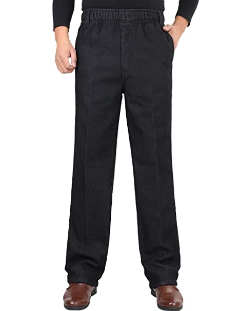 d22d8e92c2994a Zoulee Men's Full Elastic Waist Denim Pull On Jeans Straight Trousers Pants  Velvet Black 32