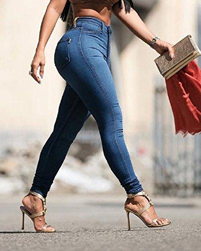 Pantalones Ocio Jeans Azul Oscuro Cintura Flaco Fit Alta Estilo Vaqueros Delgado Mujeres 6cqf7Xnw6