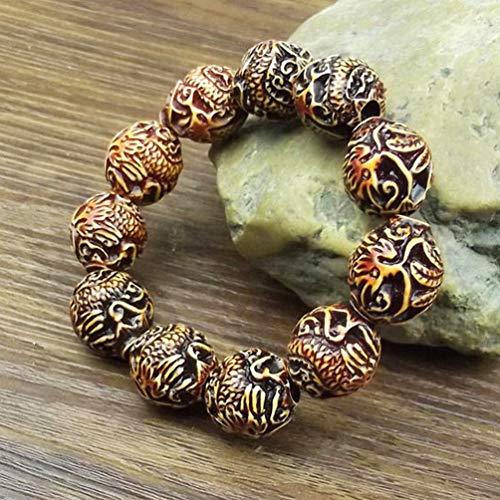 Handmade Walnut Sandalwood Wood Beads Bracelets Rosary Bracelets for Girls & Boys (Big Dragon and Phoenix Beads)