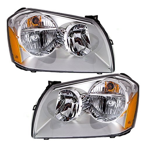 Pair Set Halogen Combination Headlights Headlamps with Chrome Bezels Replacement for Dodge Magnum 4806059AG 4806058AG (Dodge Magnum Headlight Headlamp)