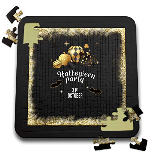 Beverly Turner Halloween Design - Designer Pumpkins, Leaves, and Bats, Halloween Party, October 31, Gold - 10x10 Inch Puzzle (pzl_300620_2) -