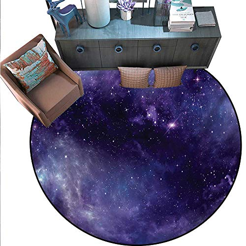Eggplant Non-Slip Round Rugs Sky The Open Space Star Constellations Gloomy Atmosphere Heavenly Bodies Living Dinning Room Bedroom Rugs (63