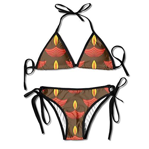 WSXEDC Diwali Lights Bikini Swimsuit 2 Pcs Sexy Bikini V Neck by WSXEDC