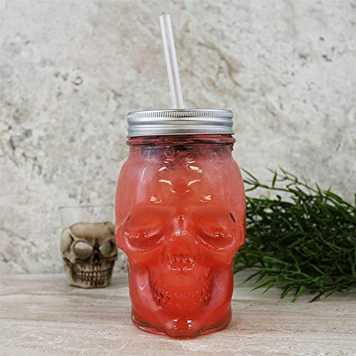 Skull Mason Jar with Lid - 16 ounce ()