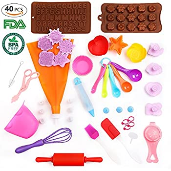 kids cooking set Real cupcake baking supplies silicone cake decorating kit,gifts for girls teens toddlers beginners teenagers