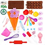 Kids Baking Set Real Cupcake Baking Supplies Silicone Cake Decorating Kit,Perfect for Girls Teens Toddlers Beginners Teenagers 8 SAFE AND EASY TO CLEAN:A Christmas gift hit,fun kids baking kits!Made of high quality food grade silicone material that design to be non-stick and dishwasher safe.These bake set are real baking tools. Recyclable, third-party tested BPA free.cupcake kit safe for children ages 5 and older KIDS REAL COOKING BAKING STARTER SET: These value attractive price baking utensils set including cupcake baking set,baking decorating set,cookie cutters and chocolate molds set PERFECT SIZE AND GIFTS SET:Very cute and vibrant color set and size is perfect for kids starter bakers!Mini cupcake cups Perfect baking supplies for kids.Set is red gift box. gift set for girls and boys who is beginning to cook