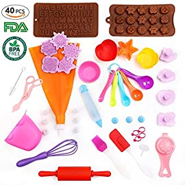 Kids Baking Set Real Cupcake Baking Supplies Silicone Cake Decorating Kit,Perfect for Girls Teens Toddlers Beginners Teenagers 3 Real silicone baking set for kids!These baking stuff provides everything your young chef needs for any cooking project! You will quickly decide that cookies and cupcake are even more fun when you've made your snack with the help of your kids and this barley Baking Sets!