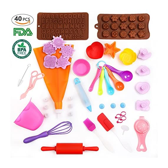 Kids Baking Set Real Cupcake Baking Supplies Silicone Cake Decorating Kit,Perfect for Girls Teens Toddlers Beginners Teenagers 1 SAFE AND EASY TO CLEAN:A Christmas gift hit,fun kids baking kits!Made of high quality food grade silicone material that design to be non-stick and dishwasher safe.These bake set are real baking tools. Recyclable, third-party tested BPA free.cupcake kit safe for children ages 5 and older KIDS REAL COOKING BAKING STARTER SET: These value attractive price baking utensils set including cupcake baking set,baking decorating set,cookie cutters and chocolate molds set PERFECT SIZE AND GIFTS SET:Very cute and vibrant color set and size is perfect for kids starter bakers!Mini cupcake cups Perfect baking supplies for kids.Set is red gift box. gift set for girls and boys who is beginning to cook