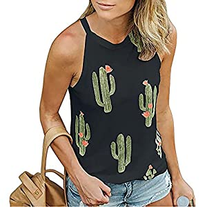 7a5d8d82e1e05 Imily Bela Womens Summer Halter Tank High Neck Cactus Tops Floral Patterned  Crop Thirt