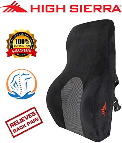 - High Sierra HS1434 \ Full Size Ergonomic Back Support Pillow \ Relieves Painful Pressure Points \ Premium Memory Foam \ Lumbar Cushion for Office Chair, Car, SUV \ Fits Most Seats