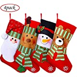 "Woooow 4 Christmas Stockings,15"" Christmas Holiday Stockings with Christmas Snowman Santa Reindeer Bear Christmas Stockings Set Gift and Treat Bag for Favors and Decorating Ornaments"
