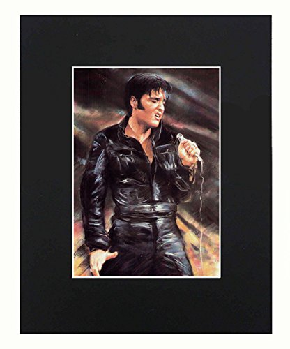 (Elvis Presley Portrait 8x10 Black Matted Art Artworks Print Paintings Printed Picture Photograph Poster Gift Wall Decor Display)