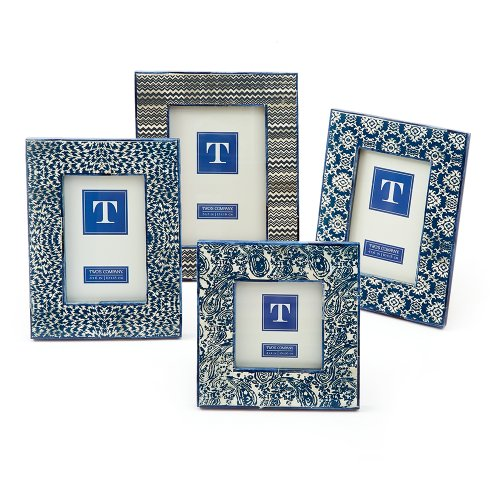 Two's Company Batik Print Photo Frames, Set of 4