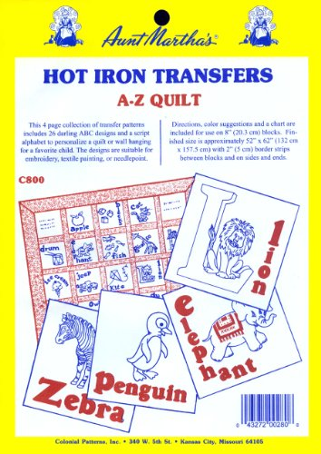(Aunt Martha's ABC Children's Quilt Iron On Transfer Pattern)