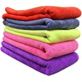 Wavex Microfiber Cloth - 5 pcs - 40x40 cms - 350 GSM Multi-Color - Thick Lint & Streak-Free Multipurpose Cloths - Automotive Microfibre Towels for Car Bike Cleaning Polishing Washing & Detailing