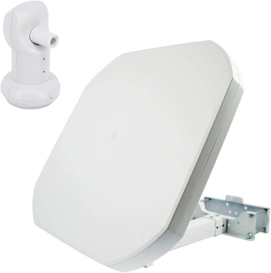 PremiumX FLAT43 Antena plana de satélite con LNB único – Antena de satélite digital para 1 participante, 4K UHD FullHD