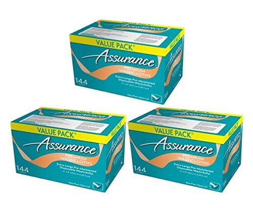 Assurance Premium Washcloths Value Pack 144 Count Carton (3-Carton Multipack 432 Washcloths Total) by Assurance