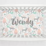 Carousel Designs Personalized Custom Gray and Peach Woodland Animals Mini Crib Sheet Wendy Idea - Organic 100% Cotton - Made in The USA