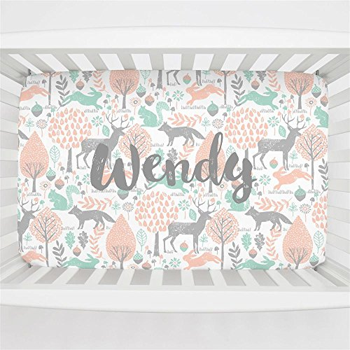 Carousel Designs Personalized Custom Gray and Peach Woodland Animals Mini Crib Sheet Wendy Idea - Organic 100% Cotton - Made in The USA by Carousel Designs