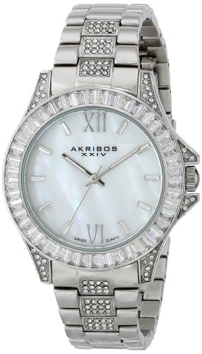 - Akribos XXIV Women's AK670SS Impeccable Swiss Quartz Crystal Mother-of-Pearl Silver-tone Stainless Steel Bracelet Watch