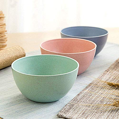 Golandstar Eco Friendly Healthy Wheat Straw Plastic Bowl for Rice,Noodles,Soup, Popcorn, Fruit, Salad,Ice Cream,Cereal Dinner Party Bowls 3pcs Set (3pcs, Blue, Green, Pink)
